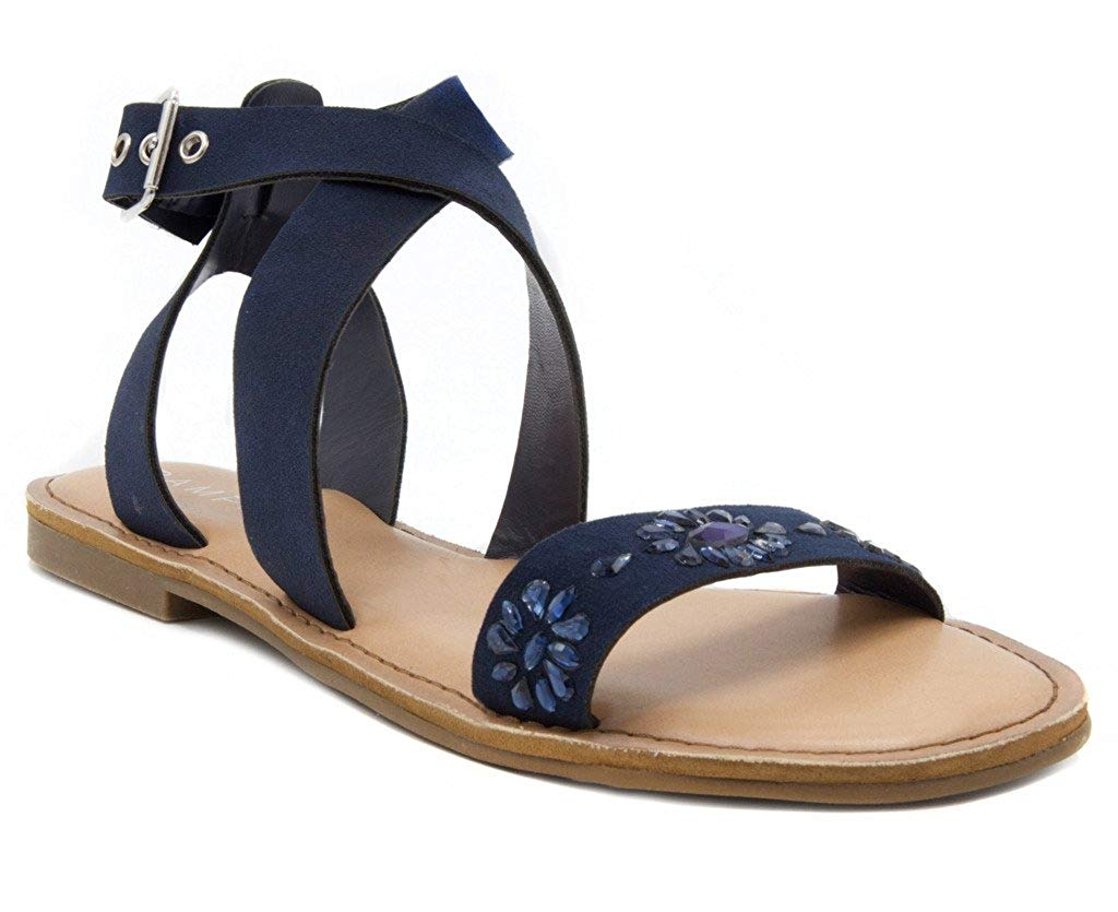 23cbd8fd0a2c Details about Rampage Women s Tera2 Strappy Flat Open Toe Sandal with Gem