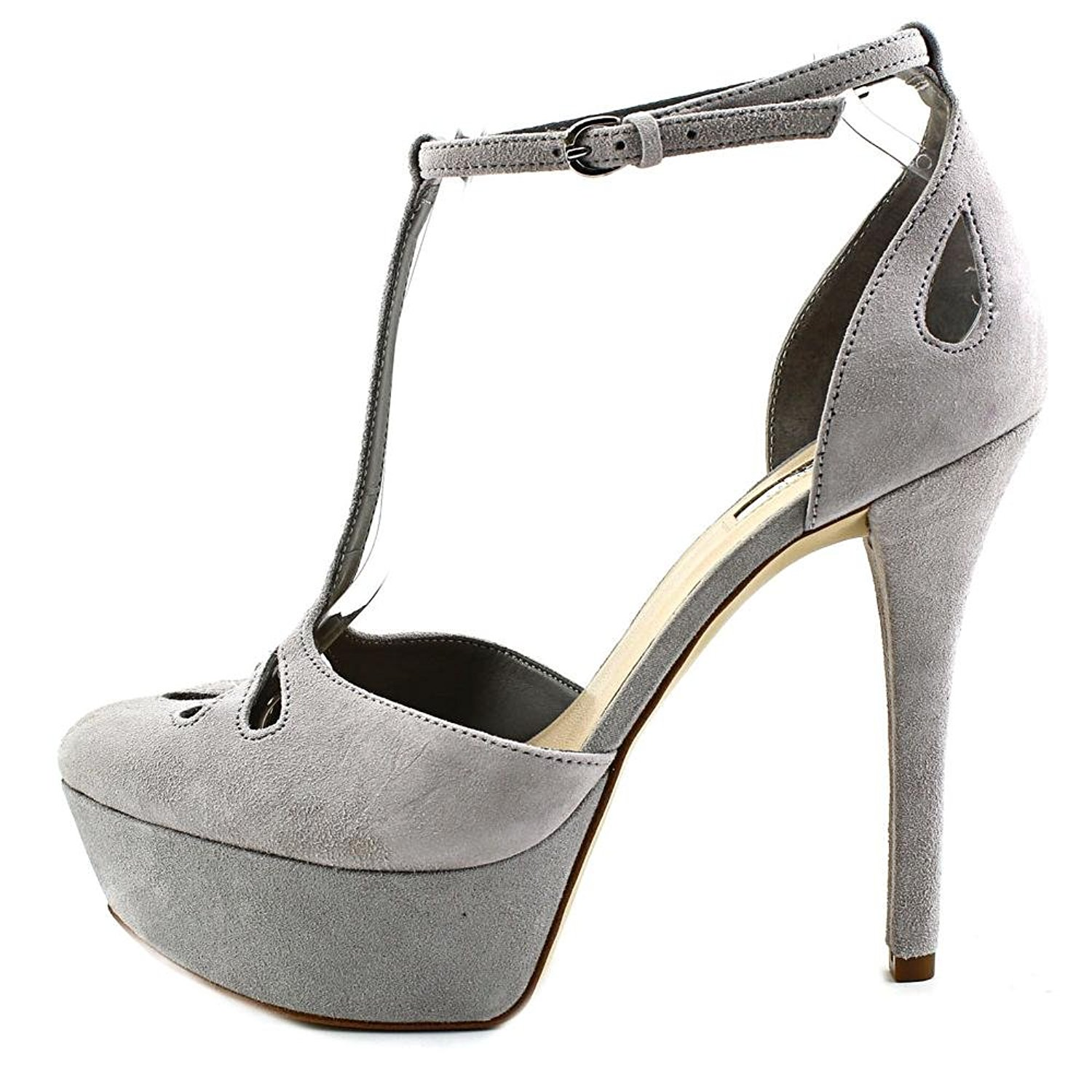 GUESS Womens Espie Leather Closed Toe TStrap Platform Gray Suede Size 8.0 nSg