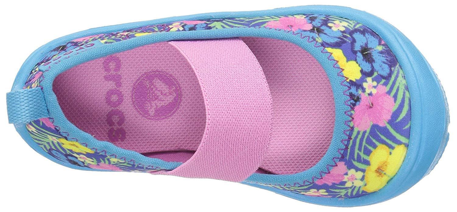 c1d1474704fd7 Details about Crocs Kids' Duet Busy Day MJ Graphic PS Mary Jane, Tropical,  Size 6.0 QKxR