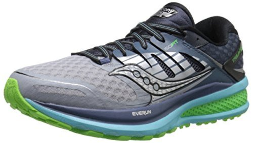 Saucony Women's Triumph ISO 2 Running Shoe, Grey/Blue/Slime, Size