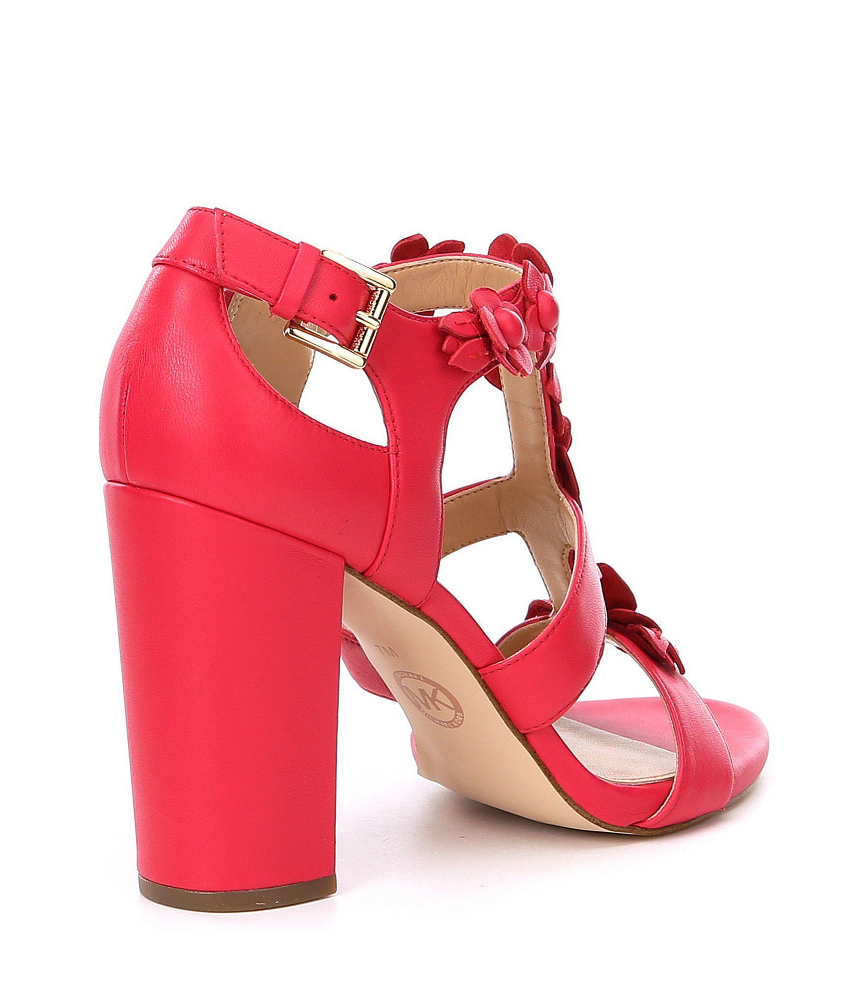 15ac482d3d5 Details about Michael Michael Kors Womens Tricia T-Strap Leather Open Toe,  Deep Pink, Size 7.0