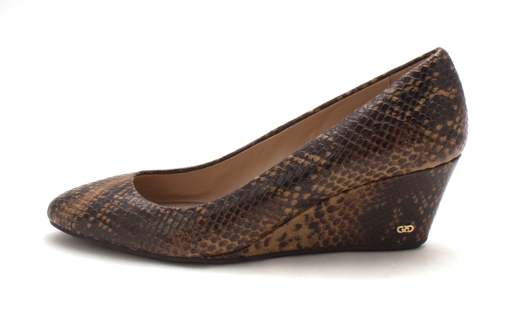 Cole Haan Womens 15A4108 Closed Toe Wedge Pumps Brown Snake Size 6.0