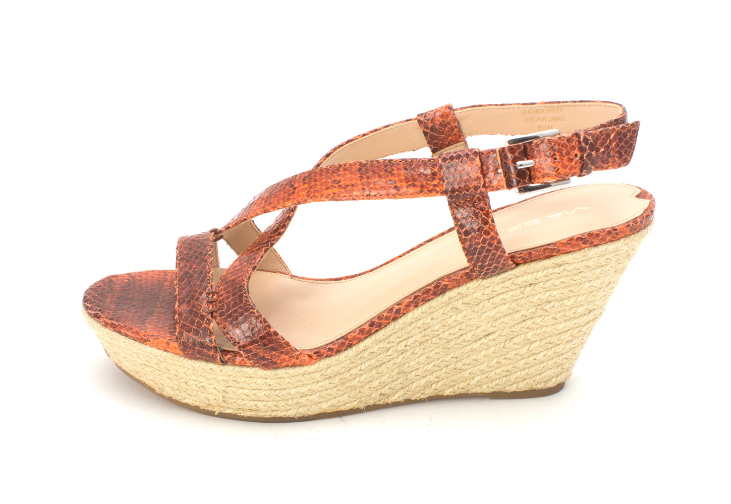 Via Spiga Womens Wendy Leather Open Toe Casual Espadrille Orange Size 85