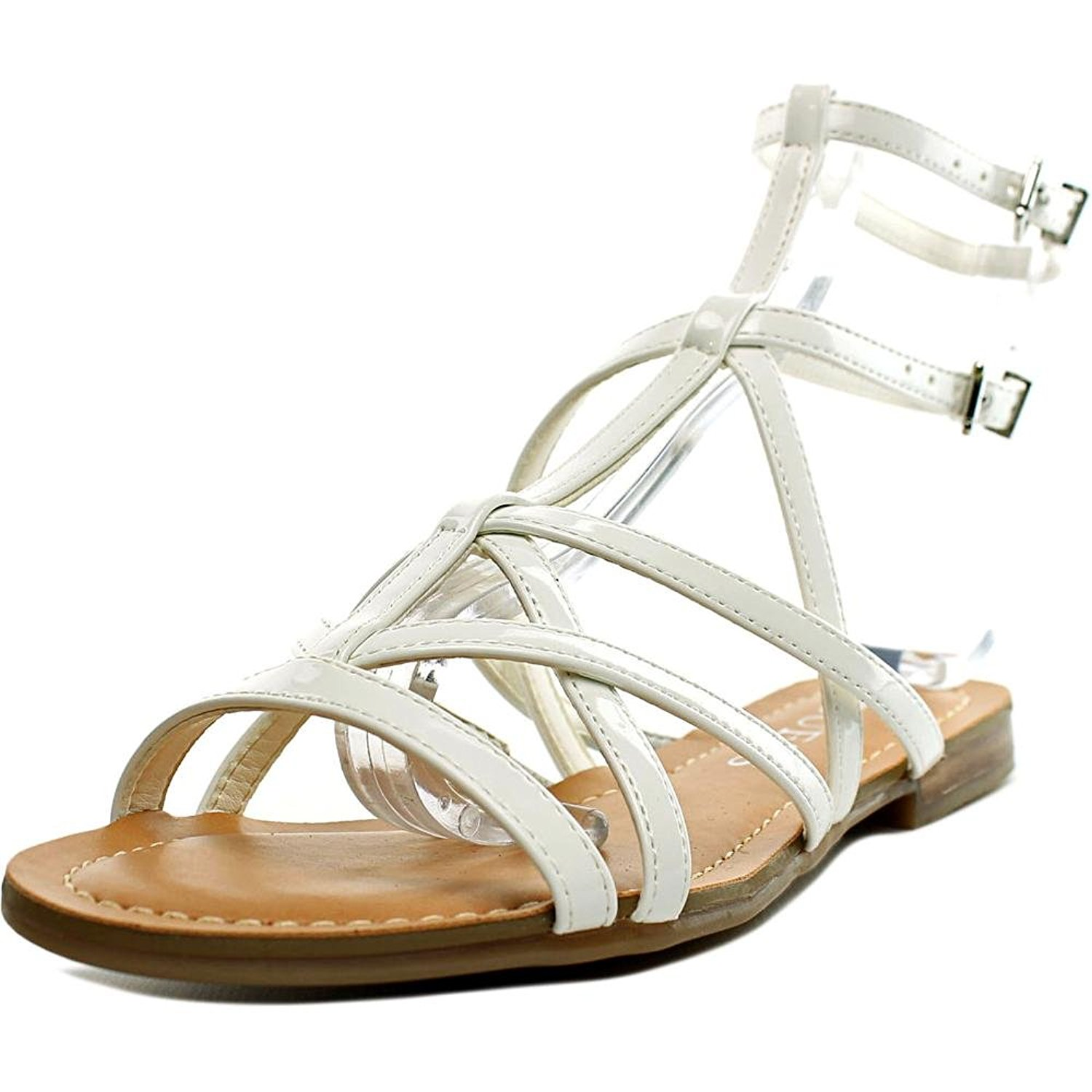 GUESS Womens Mannie Open Toe Casual Gladiator Sandals White Size 5.5