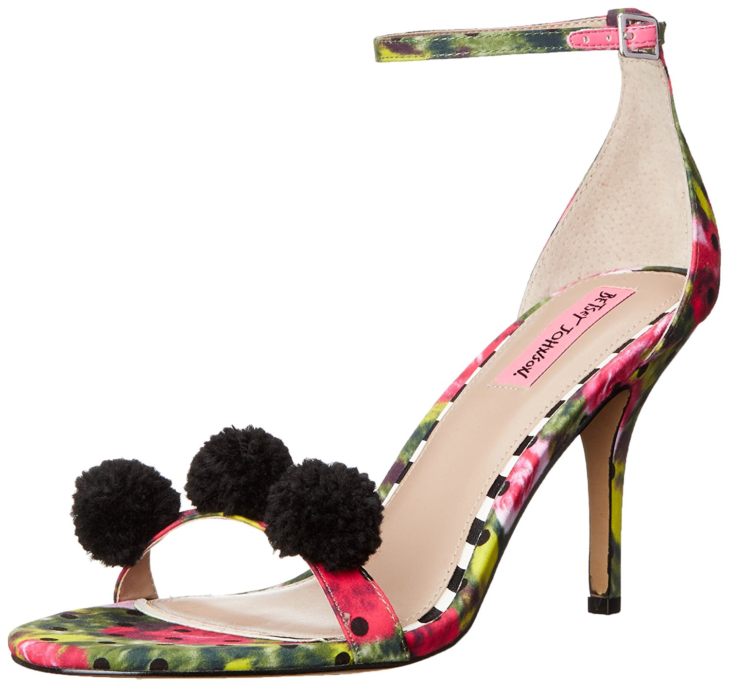 Betsey Johnson Womens Lylly Open Toe Ankle Strap Dorsay Green/Multi Size 8.5