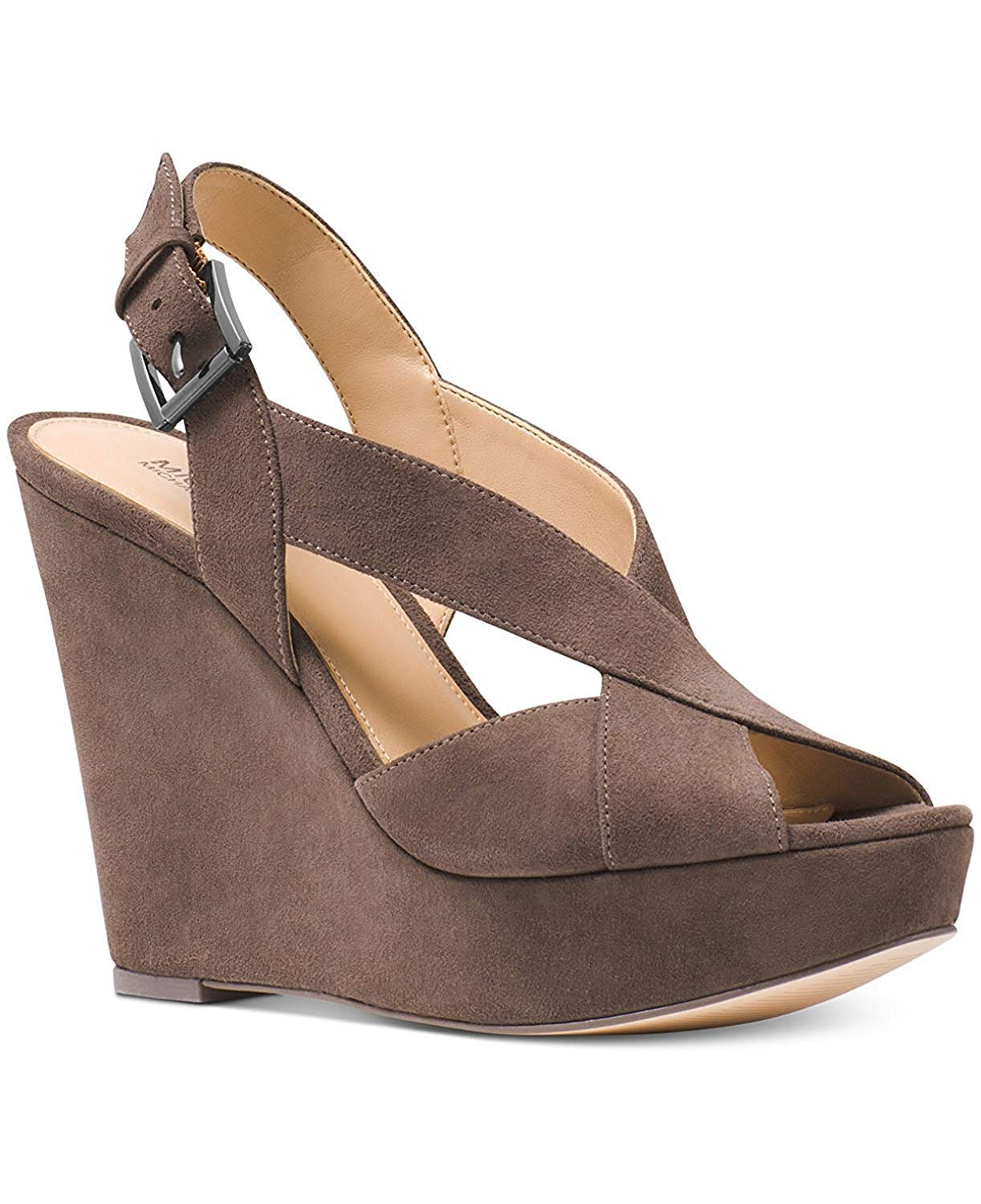 3ae924479a6 Michael Michael Kors Womens Becky Wedge Open Toe Casual Ankle Strap Sandals