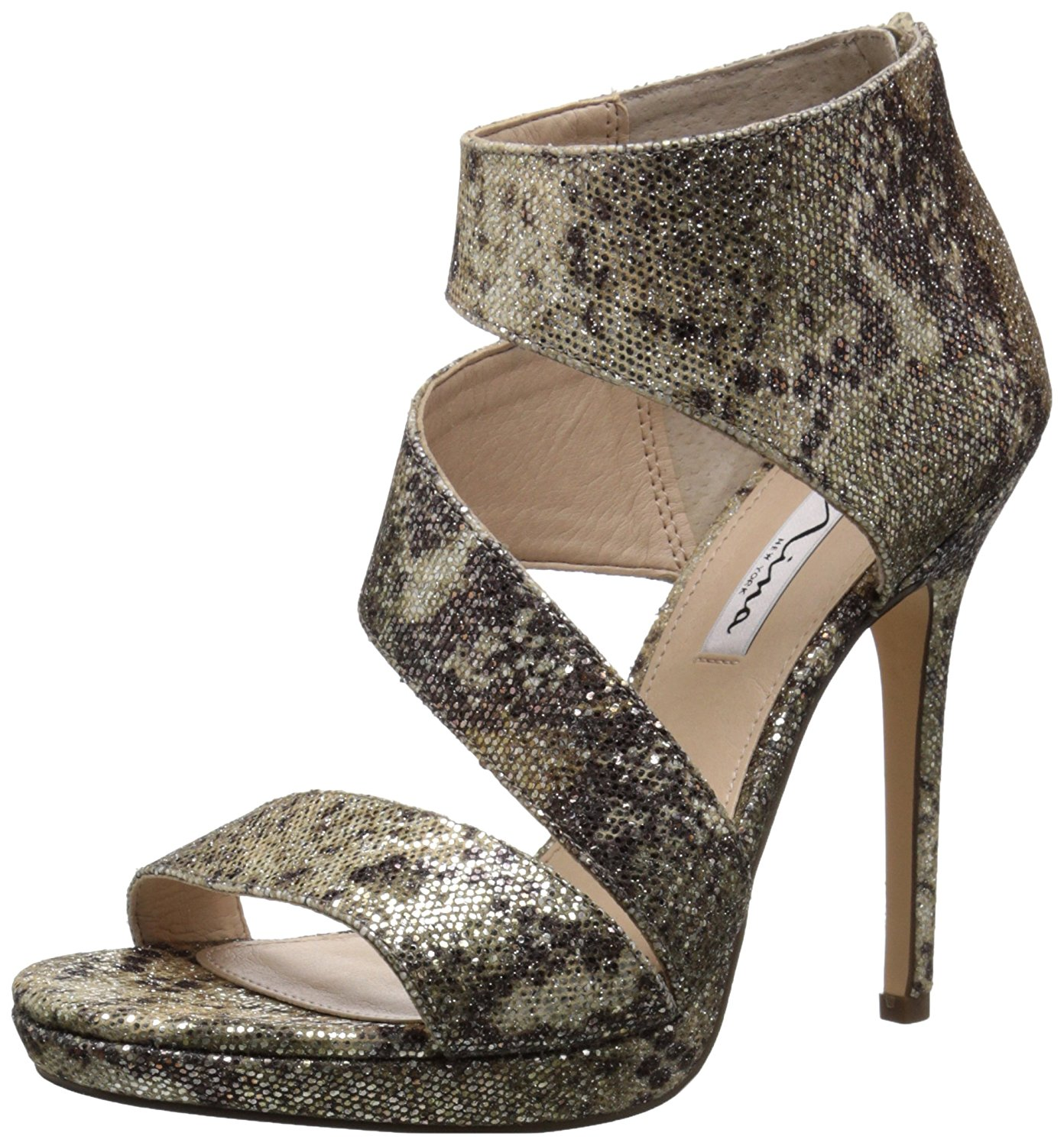 Nina Womens Faust Open Toe Ankle Wrap Platform Pumps Natural Syra Size 5.5