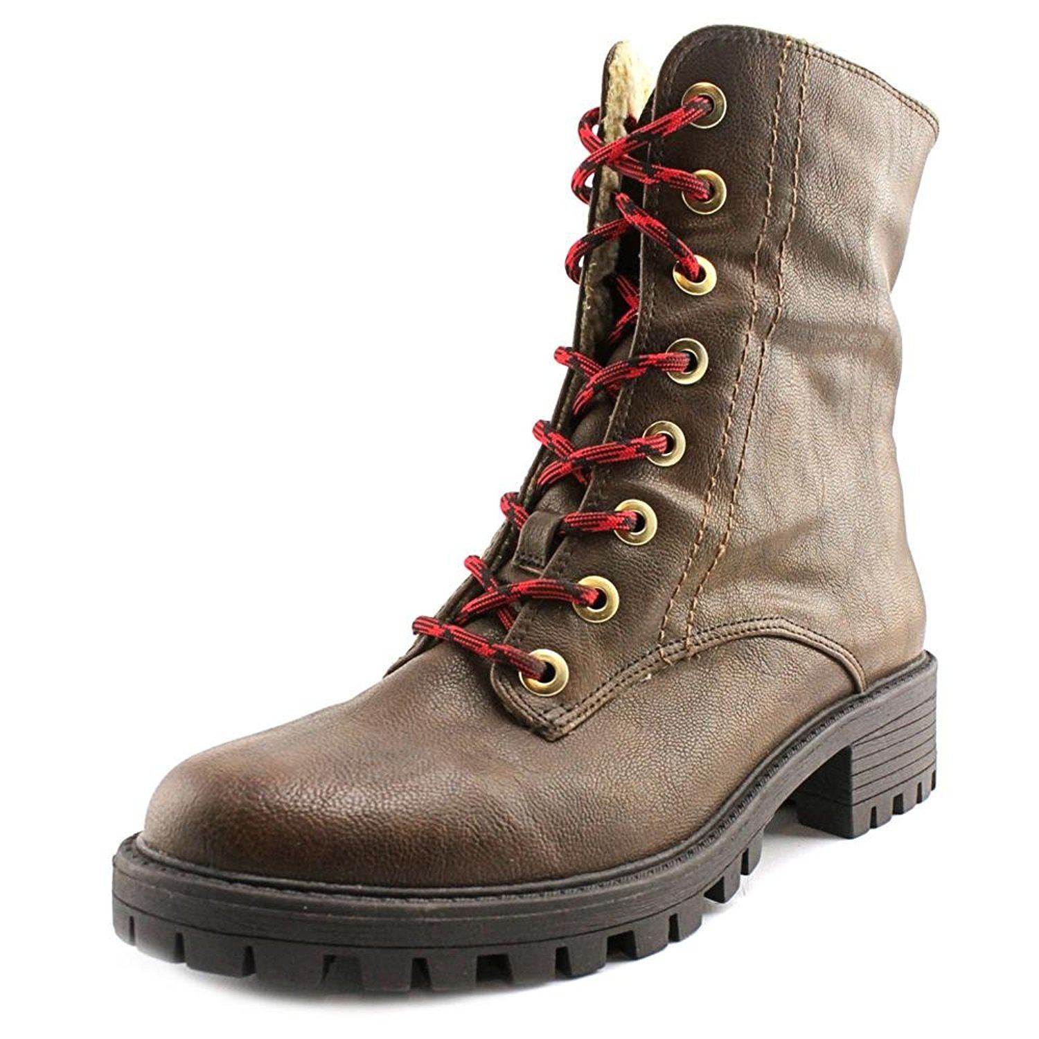 Bar III Womens Blue Brown Closed Toe Ankle Combat Boots