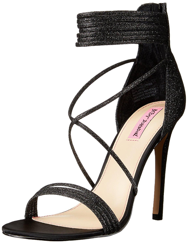 Betsey Johnson Womens Kora Open Toe Ankle Wrap Dorsay Black Glitter Size 7.5