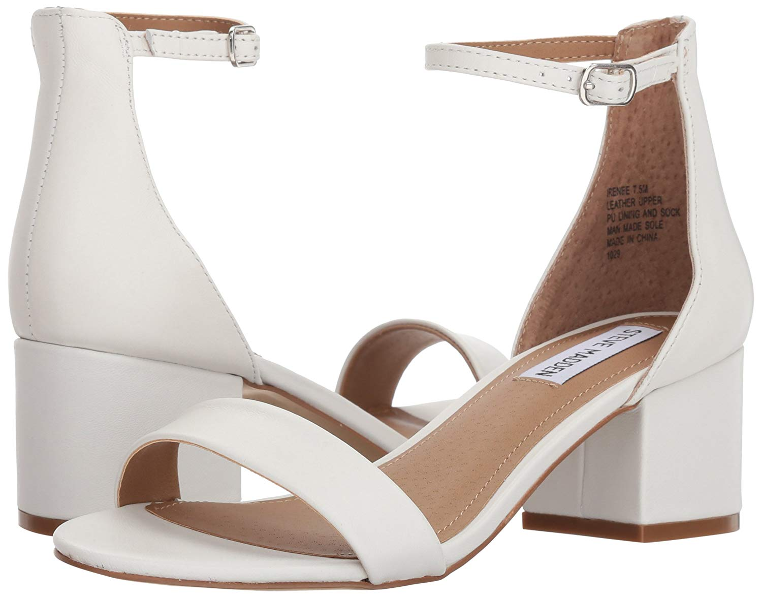 Details about Steve Madden Womens Irenee Open Toe Formal Ankle Strap, White Leather, Size 6.0