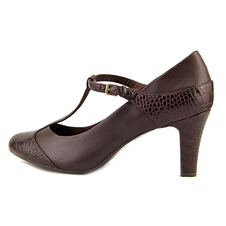 Giani Bernini Womens Vineza Leather Closed Toe TStrap Classic Cacao Size 5.0