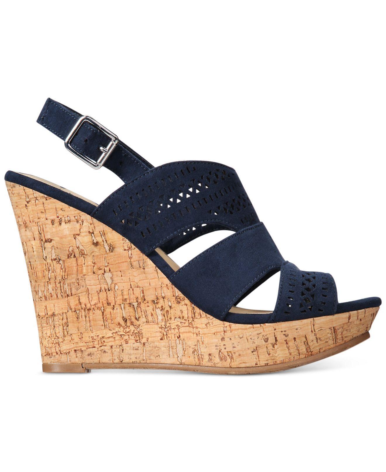 American Rag Womens Amirranda Peep Toe Casual Platform Sandals Navy Size 70