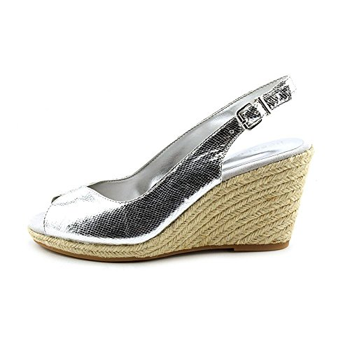 BCBGMAXAZRIA Womens Basil Leather Peep Toe Casual Platform Silver Size 70
