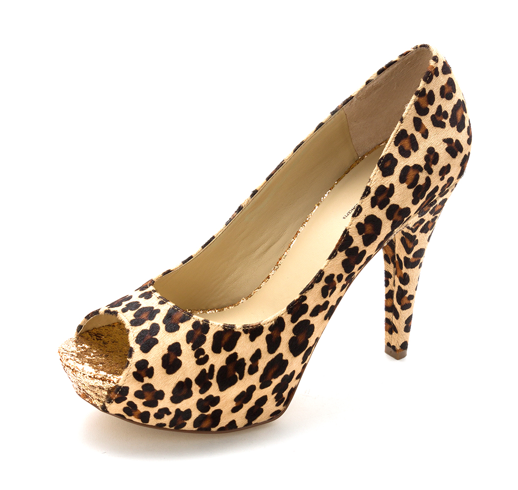 INC International Concepts Womens Bombay Fur Peep Toe Leopard Size 10.0