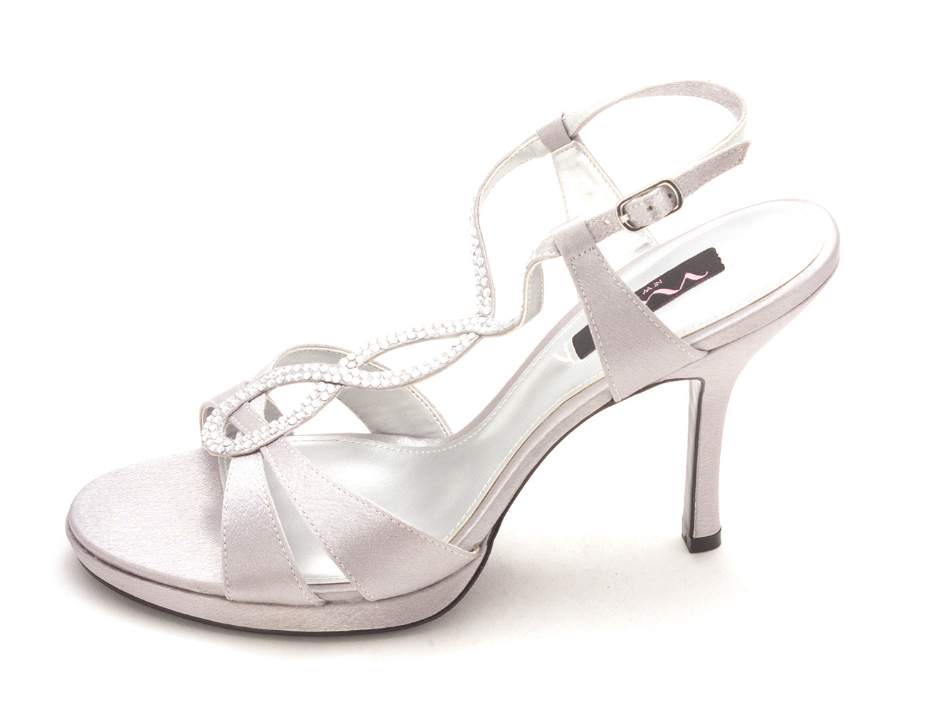 Nina Womens Graysen Canvas Open Toe Formal TStrap Sandals Silver Size 90