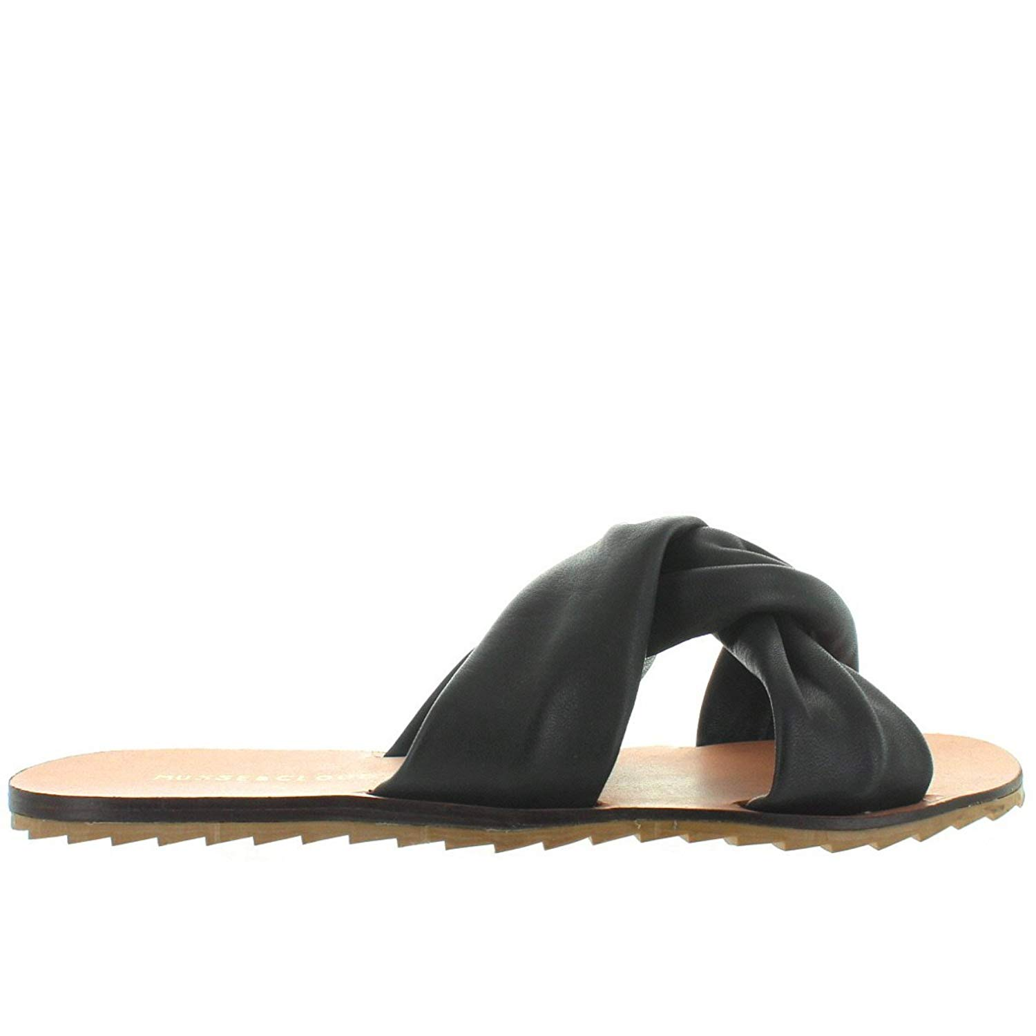 78402746320 Details about Musse   Cloud Valentine - Black Twist Knot Flat Slide Sandal