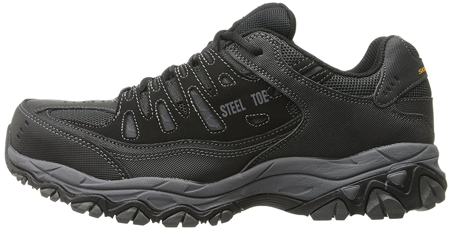 3094cfd5751 Details about Skechers Mens Crankton Steel toe Lace Up Safety Shoes,  Black/Charcoal, Size 10.0