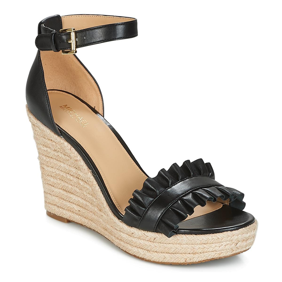 b383e4f15d1f Details about Michael Kors Bella Wedge Womens Heeled Sandals Black 9.5 US    7.5 UK