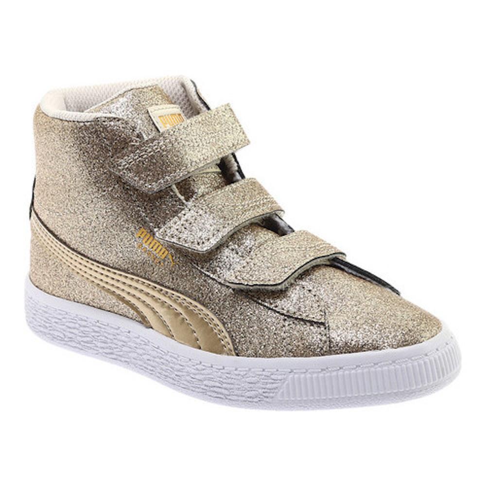 Kids Puma Girls Basket Mid Strap Glitz Hight Top Fashion Sneaker  35ffbf1a61132