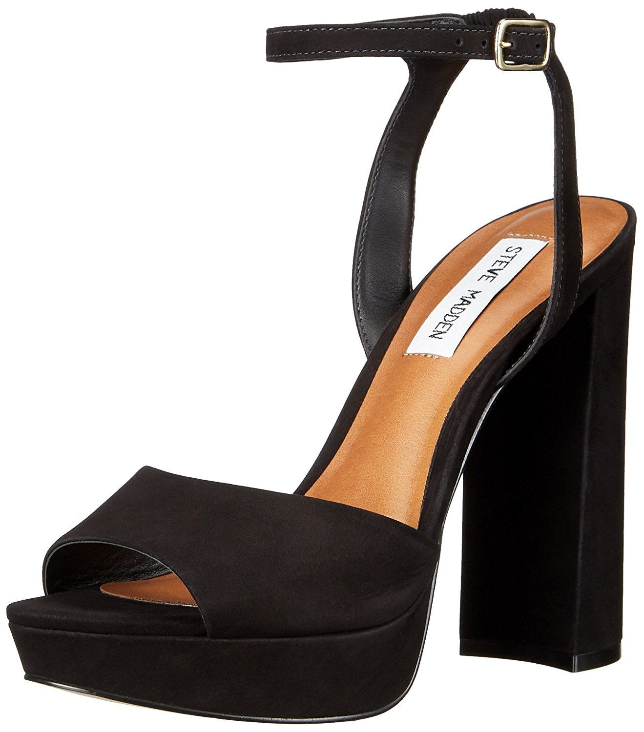 0e663a9b369 Steve Madden Brrit Womens Platform Sandals Black Nubuck 8 US   6 UK ...