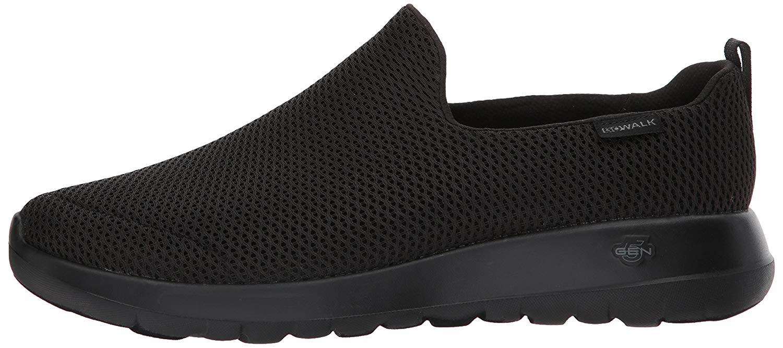 f0ce434af8 Skechers Mens Go Walk Max Fabric Low Top Slip On Walking Shoes, Black, Size  7.0