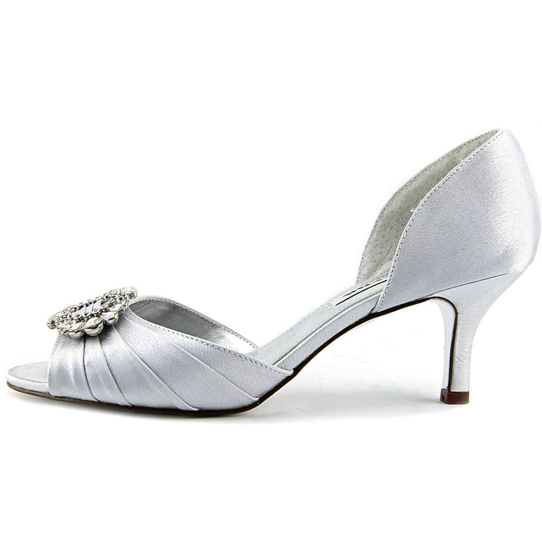 Nina Womens Crystah Peep Size Toe Dorsay Pumps Black Satin Size Peep 8.5 255ed7