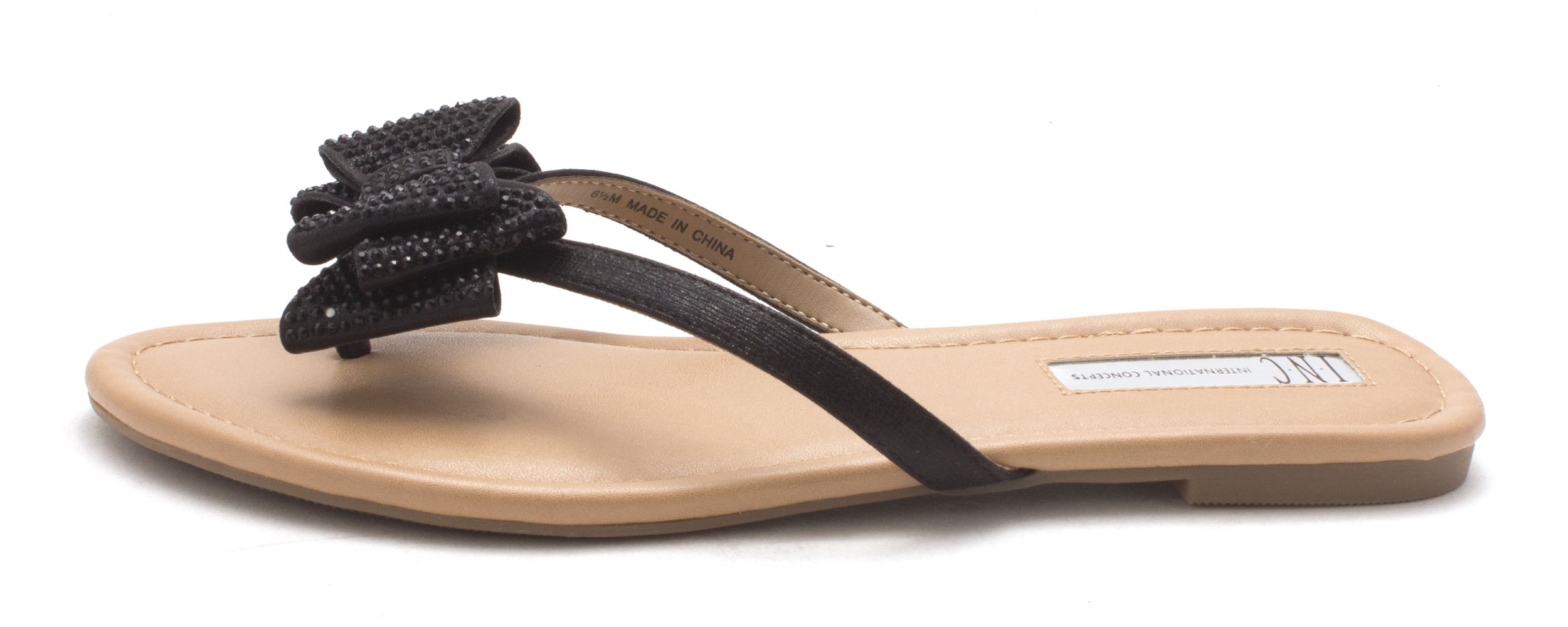 INC International Concepts Womens Mabae Fabric Open Toe Beach Black Size 50