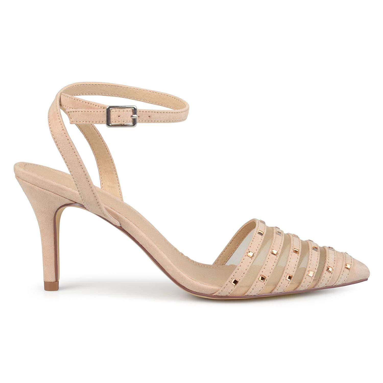 Brinley Co Womens Faux Suede Rhinestone Pointed Toe Nude, Ankle-Strap, Nude, Toe Size 11.0 a4661d