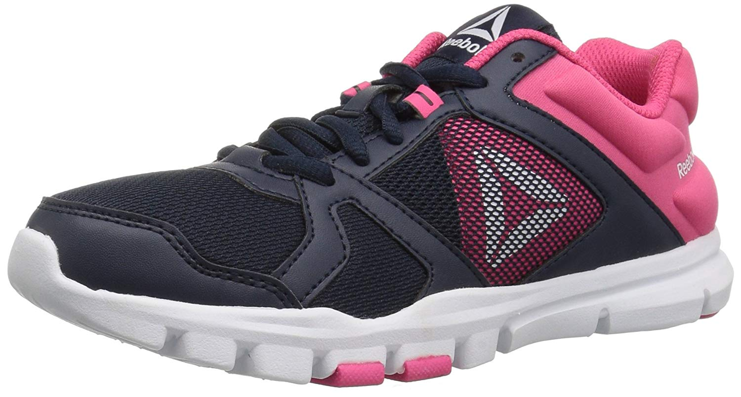 d23998a1ab4 Kids Reebok Girls Yourflex Train 10 Low Top Lace Up Trail Running Shoes