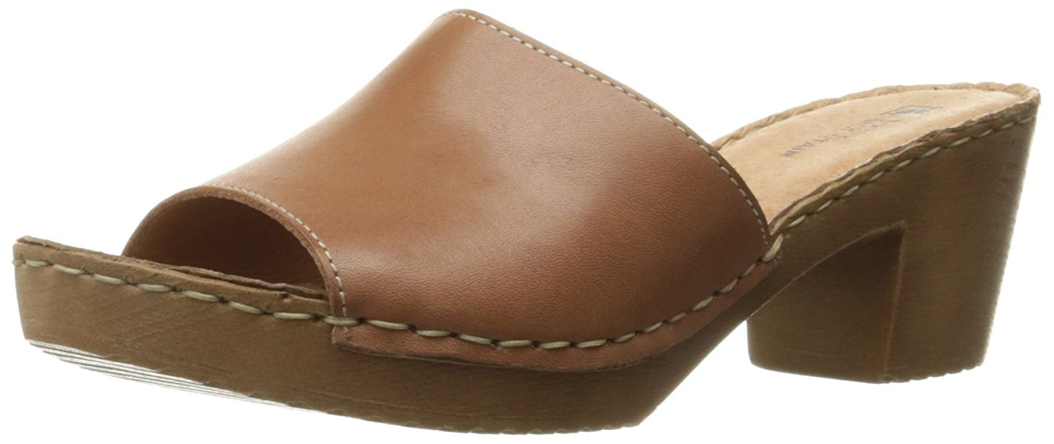 White Mountain Womens Morsel Leather Open Toe Casual Slide Brown Size 85