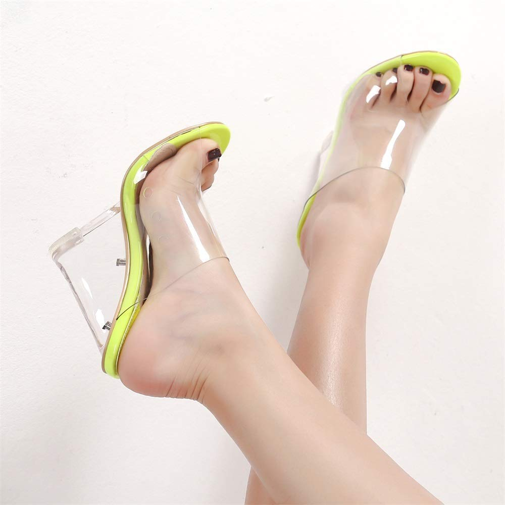 Mackin Girl G502-1 Womens Clear Sandals Open Toe Slip On Mule Chunky Heel Clear Shoes