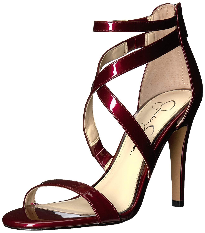 Jessica Simpson femmes Ellenie Fabric Open Toe Special, Plum Berry, Taille 9.5