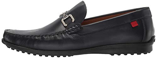 MARC JOSEPH NEW YORK Mens Grainy Leather Carneige Hill Buckle Loafer Black Brushed Nappa 7 M US