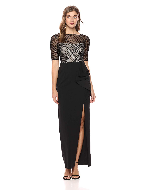 Adrianna Papell Womens Elbow Sleeve Plaid Design Dress