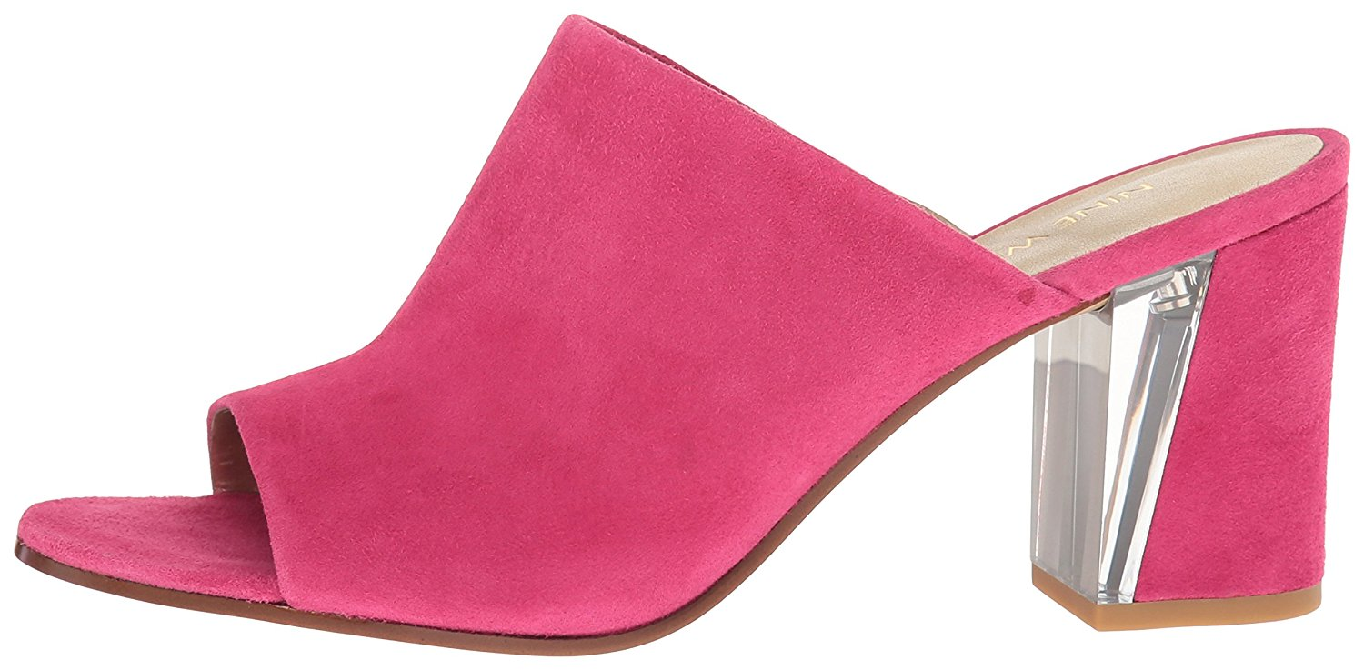 Nine West Womens Gemily Leather Open Toe Mules Pink SU Size 9.0