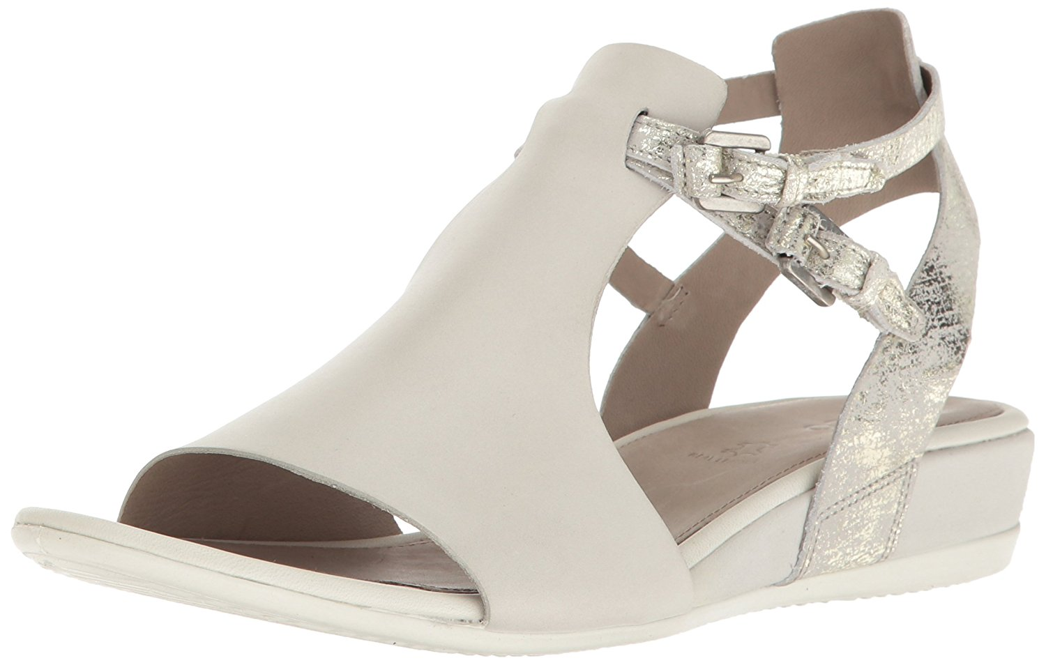 ECCO Womens 262163 Open Toe Casual Ankle Strap, Shadow White Gravel, Size 6.0 Kt
