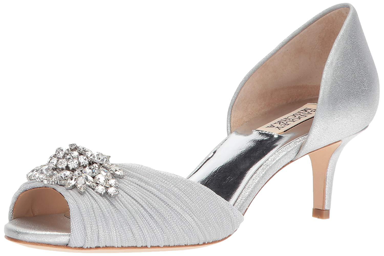 Badgley Mischka Womens Jeweled Black Or Red Peep Toe Fashion Ankle Strap Heels