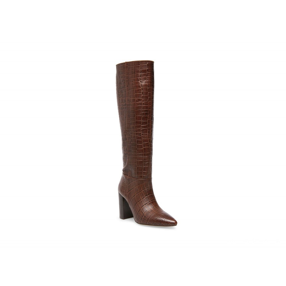 Details about Steve Madden Womens Fenix Leather Pointed Toe Knee High, Brown croco, Size 6.0 c