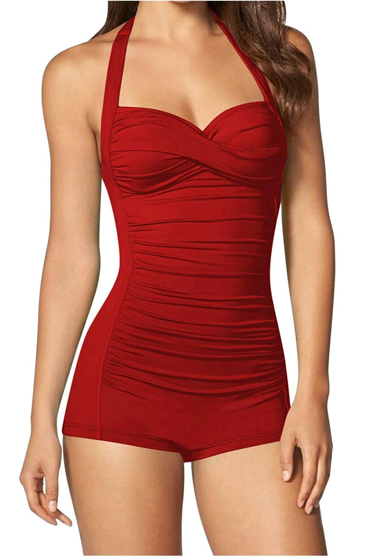 Women's One Piece Tummy Control Swimwear Boyleg Ruched ...