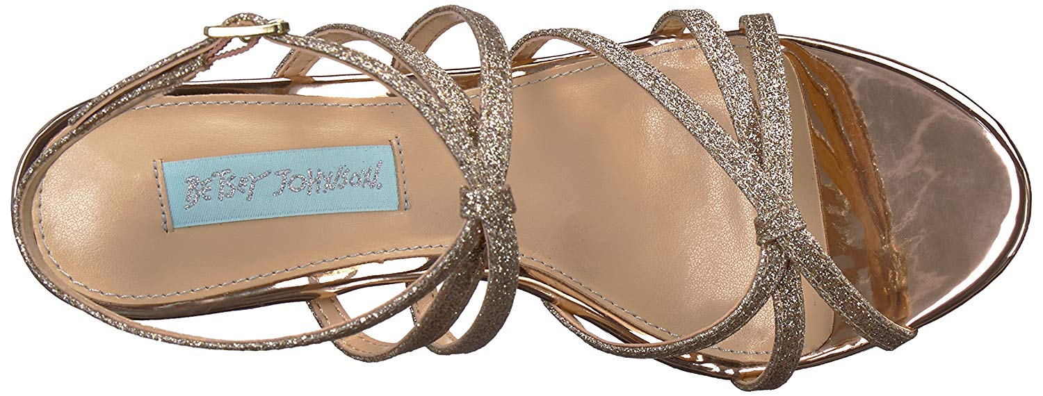 pour Nyis 7 Johnson Us5 Uk Sandales plates Betsey femme Champagne Glitter vN8n0wmO