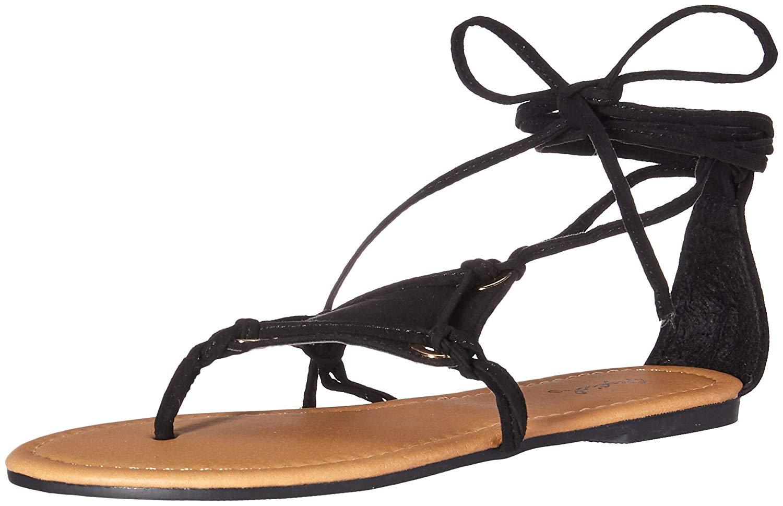 2d1cc68066bd Qupid Women s Thong Lace up Flat Sandal