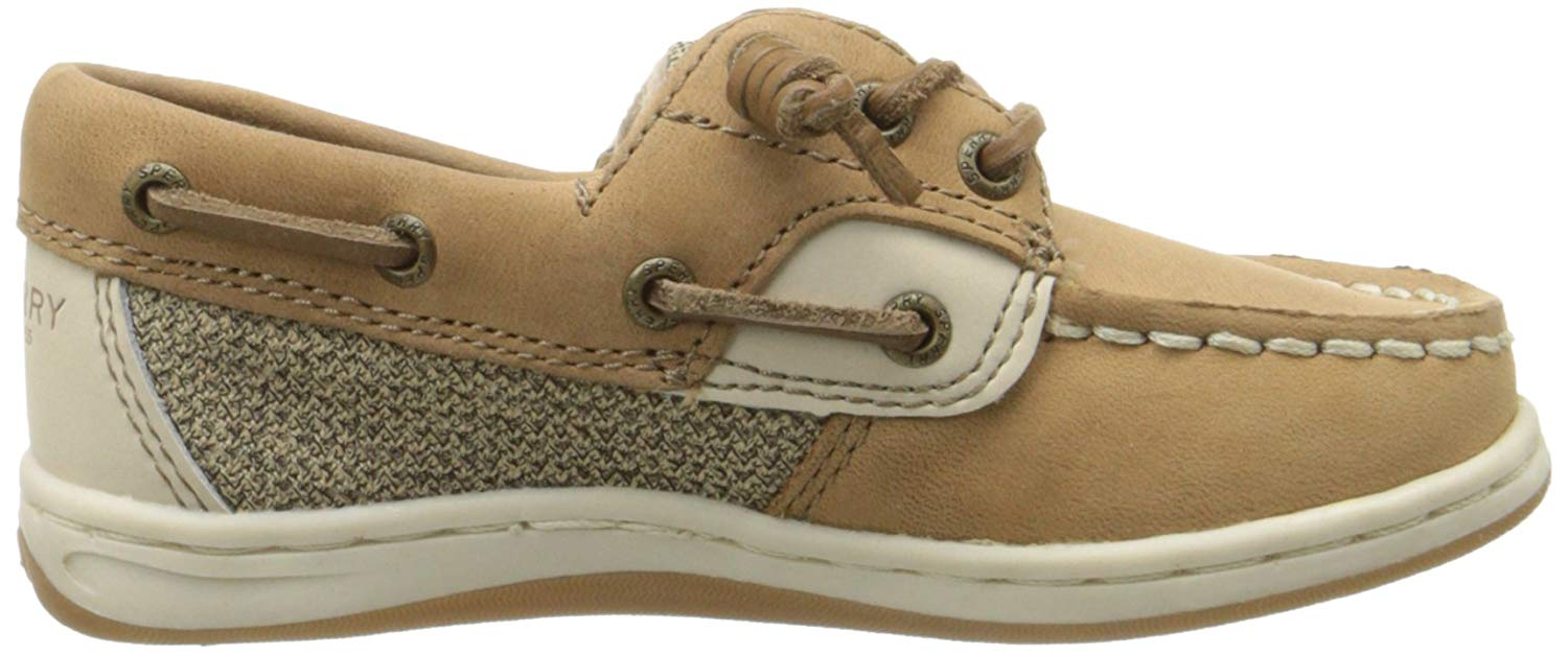 Sperry Girls Boat Shoes Songfish Top Sider Linen Gold Leather Choose Your Size