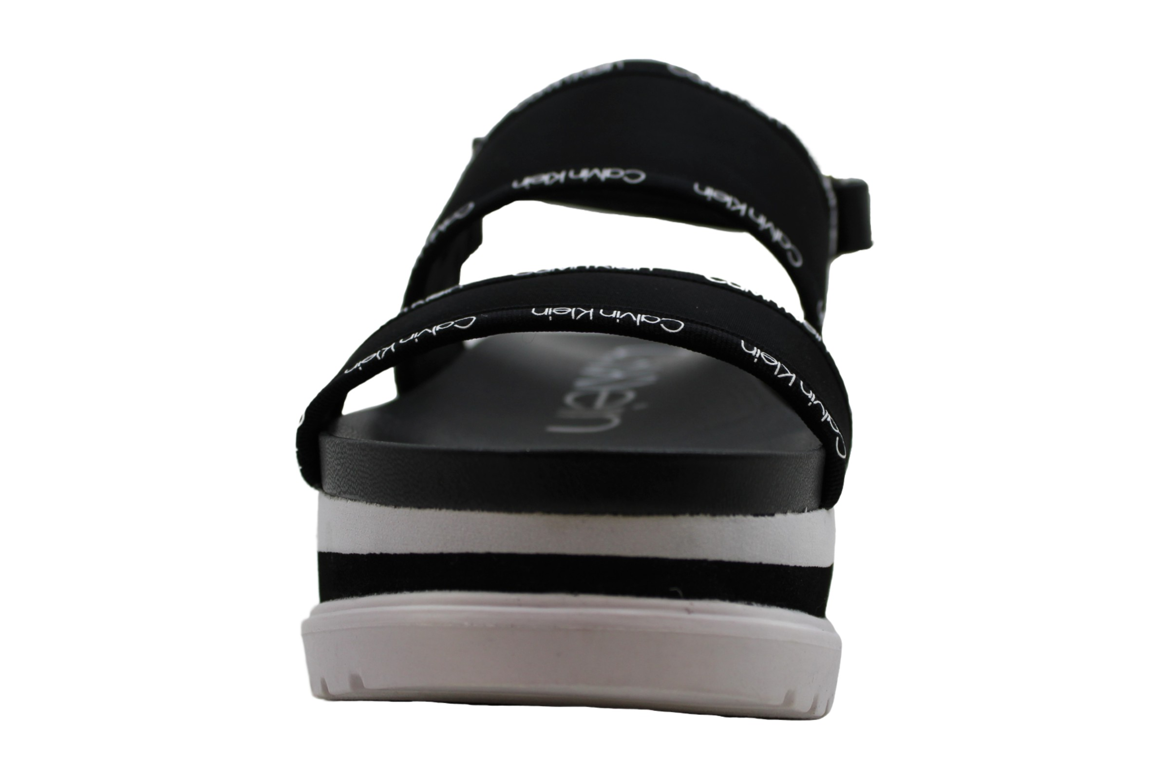 Calvin Klein Womens nola Fabric Open Toe Casual Platform, Black Logo, Size 11.0