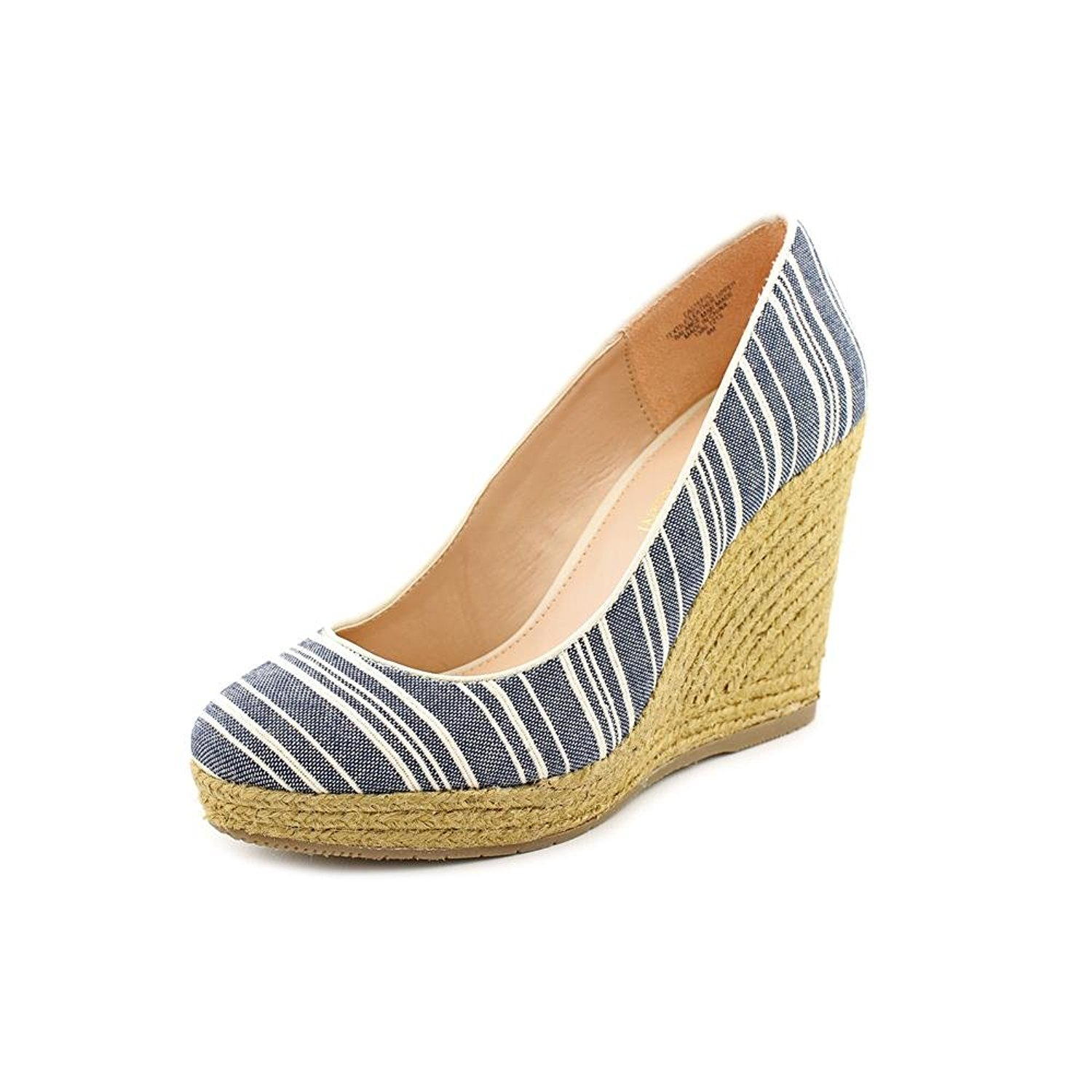 Enzo Angiolini Womens Steffo Wedge Navy White Size 100