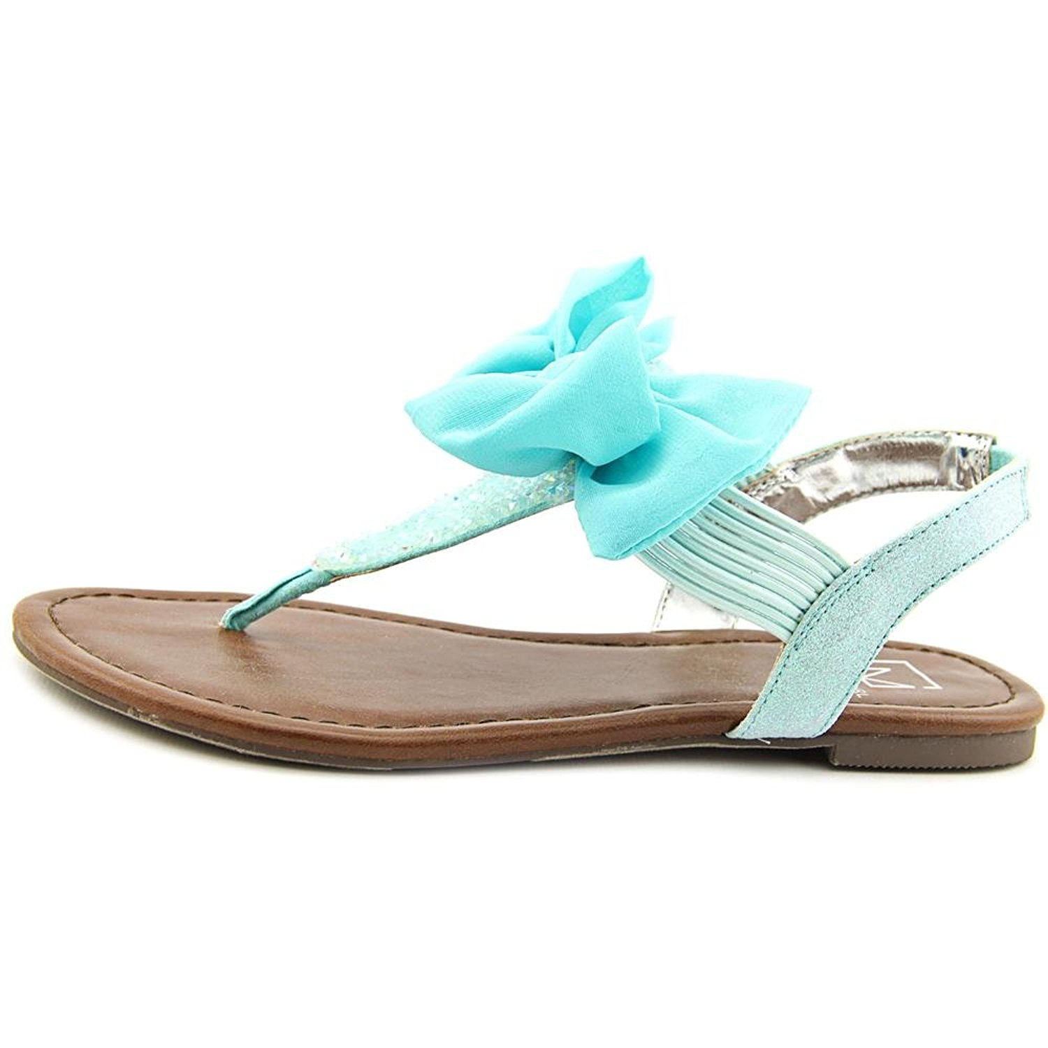 Material Girl Womens Swan Fabric Split Toe Casual TStrap Sandals