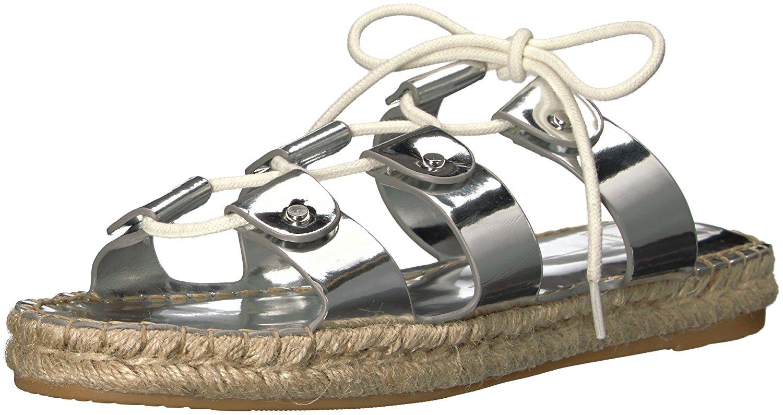 Dolce Vita Womens Vana Espadrille Sandal Silver Leather Size 80