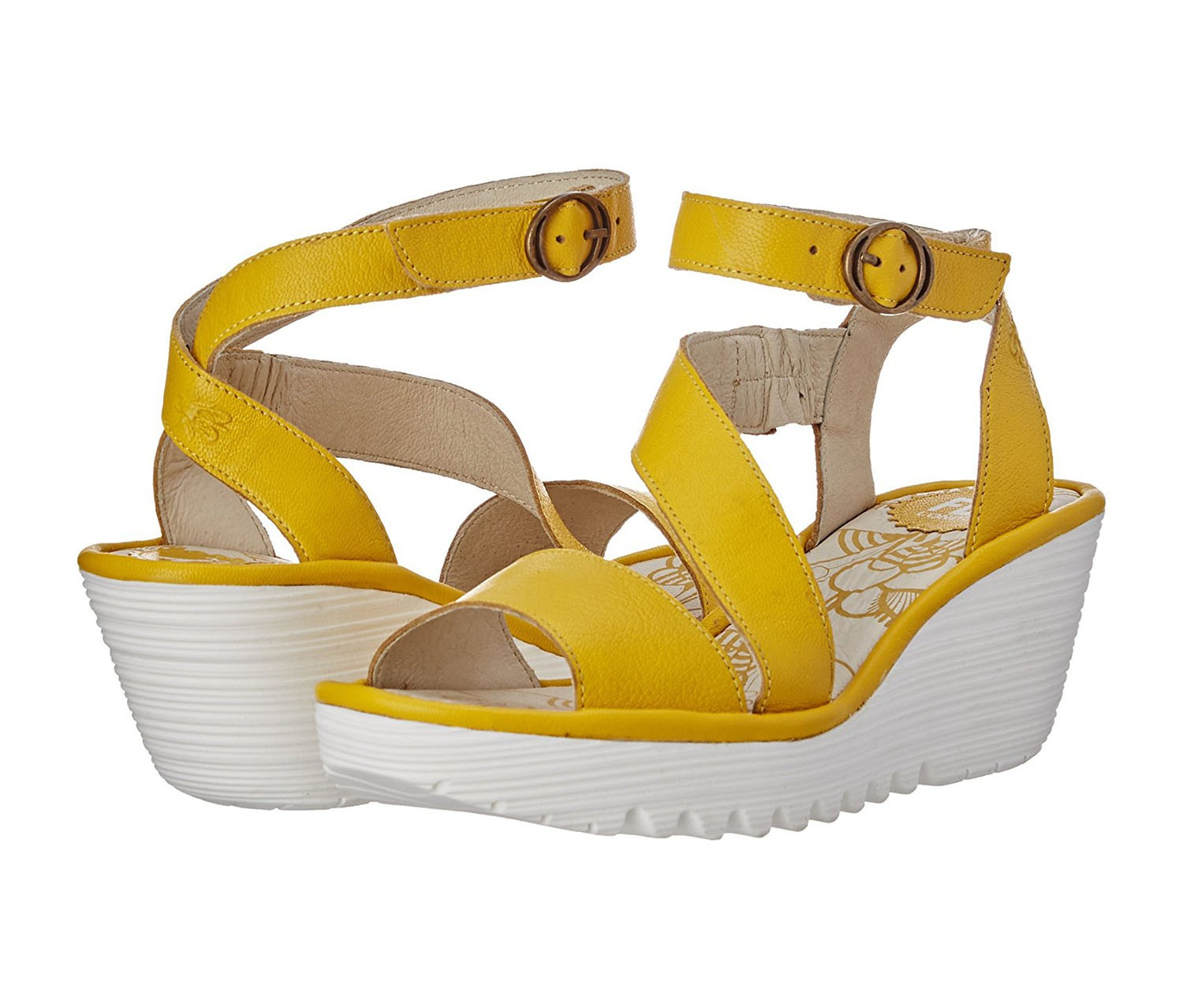 Fly Loundon Womens Yesk Open Toe Casual Platform Sandals Mousse Lemon Size 95