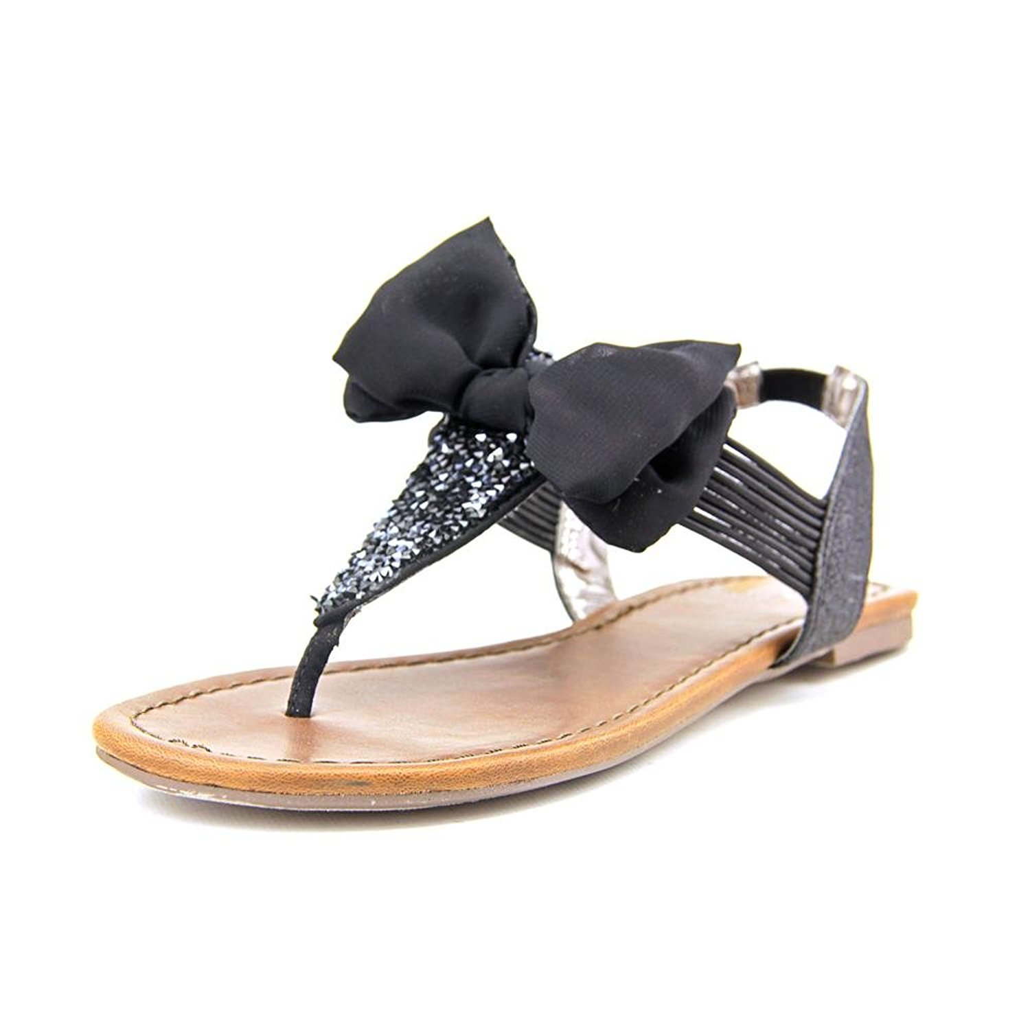Material Girl Swan Open Toe Synthetic Slingback Sandal Black Size 8.5