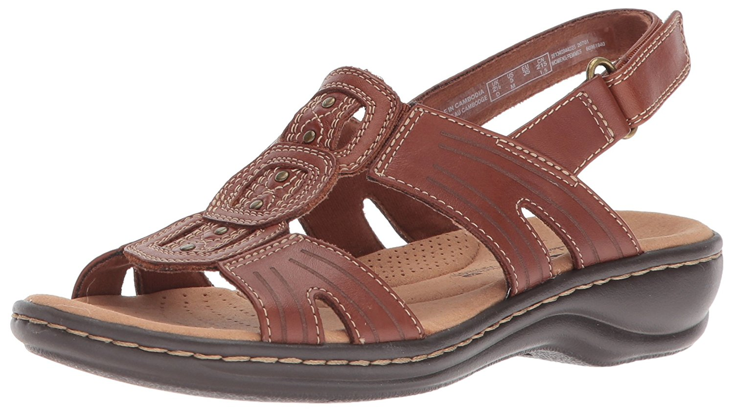 74042fb08797 CLARKS Womens leisa vine Leather Open Toe Casual Ankle Strap Sandals ...