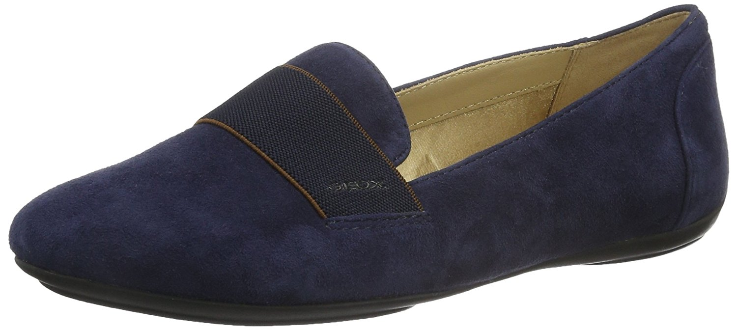 Geox Womens CHARLENE Almond Toe Loafers NAVY Size 5.0